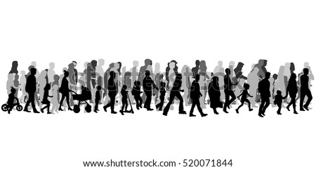 Group of people. Crowd of people silhouettes.
