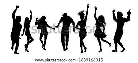 Group of people dancing silhouette vector illustration isolated on white background. Friends having fun on the party.