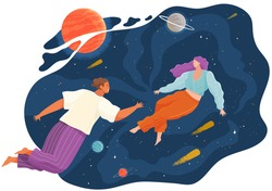 Group of people flying to the stars in space with planets. Couple man and woman floating in imagination dreams. Male and female person flying in sky with stars wearing casual clothes flat style vector