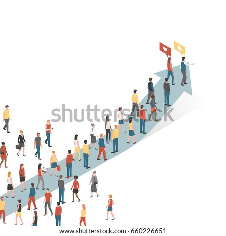 Group of people following an arrow, marketing and leadership concept