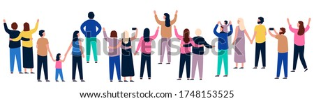 Group of people from behind. People showing and standing, gathering crowd back, illustration men and women vector Stock photo ©