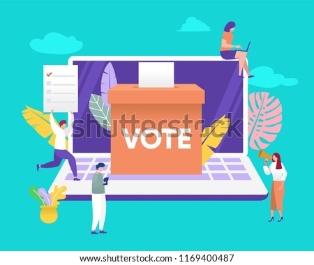 group of people give online vote and putting papper vote in to the ballot box vector illustration concept, can be use for, landing page, web, ui, banner, flyer, poster, template, background,