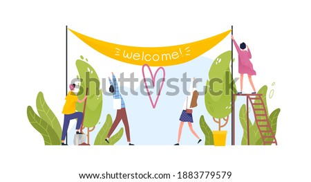 Group of people hanging Welcome banner and happy visitors coming to open air event. Man and woman decorating park entrance isolated on white. Vector illustration in flat cartoon style