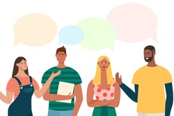 Group of people have a discussion about latest world news. Men and women with speech bubbles are talking. Flat vector characters standing together and chatting.