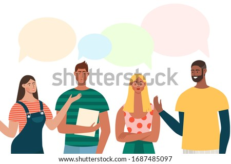 Group of people have a discussion about latest world news. Men and women with speech bubbles are talking. Flat vector characters standing together and chatting. Photo stock ©