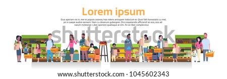 Group Of People Holding Bags, Baskets And Pushing Trolleys Over Supermarket Shelves With Grocery Products Consumerism Concept Flat Vector Illustration #1045602343