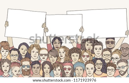 Group of people holding empty signs
