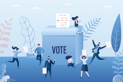Group of people holding paper ballot pages. Online vote, electronic voting. Big ballot box. Referendum or election concept background. Humans use mobile phones. Various characters in trendy style.