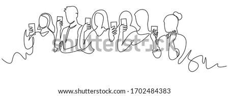 Group of people holding smartphone, making online stories or streaming in social networks. Crowd standing with phones in their hands continuous one line vector drawing. Women and men at concert