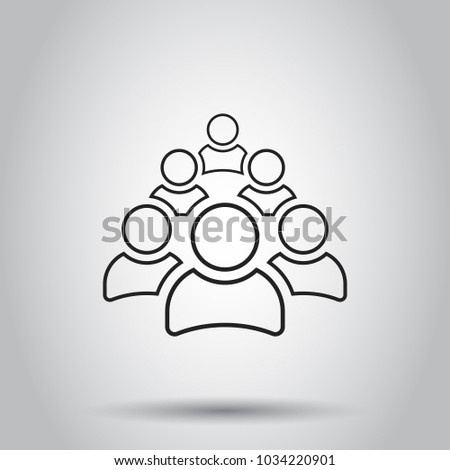 Group of people icon in line style. Vector illustration on isolated background. Business concept person pictogram.