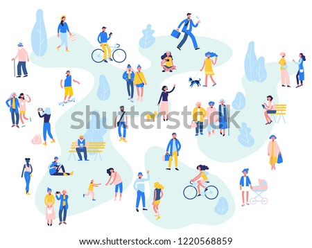 Group of people in different outdoor activity - walk, use smartphone, ride bike, relax. Crowd of male and female characters in summer city. Season background. Leisure concept.