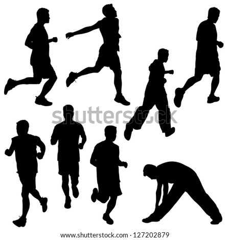 group of people in silhouettes running or jogging