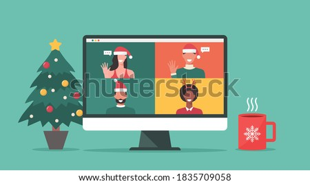 group of people in winter costumes meeting online together via video conference on a computer to virtual discussion on Christmas holiday and decorate with Christmas tree, cup, flat vector illustration