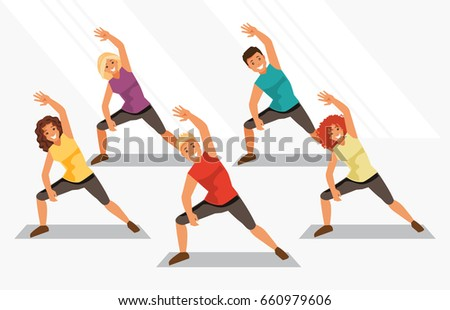Group of people is engaged in aerobics in the gym. Fitness and weight loss. Healthy lifestyle. Vector illustration