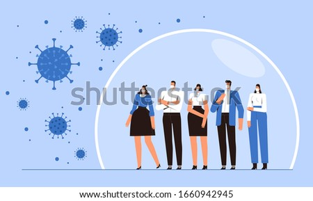 Group of people is standing in a protective bubble. Young men and women in medical masks are protected from the 2019-nCoV flying coronavirus. The concept of the fight against the new virus COVID-2019 Stock photo ©