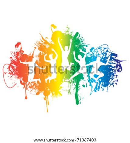 group of people jumping on a ink rainbow splash background