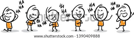 Group of people laughing - LOL -  isolated vector illustration outline hand drawn doodle line art cartoon design character.  Stock photo ©