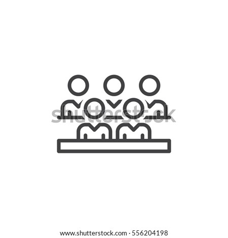 Group of people line icon, outline vector sign, linear pictogram isolated on white. Audience symbol, logo illustration