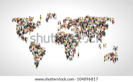 Group of people making a earth planet shape