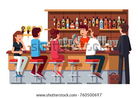 Group of people man & woman sitting at bar counter, drinking alcohol, talking. Pub bartender serving client. Barman shaking cocktail. Bar beer tap pump, stools, bottles. Flat vector illustration.