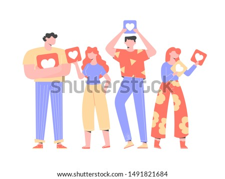 Group of people, men and women, stand in a row, holding signboards with hearts in their hands. Like, rate on social networks, chat in the messenger and comments on the blog. Vector illustration,