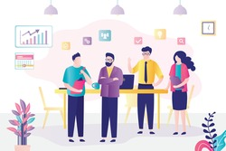 Group of people met on business conference. Employees discussing new project or company statistics. Colleagues in office brainstorming. Concept of teamwork and workplace. Flat vector illustration
