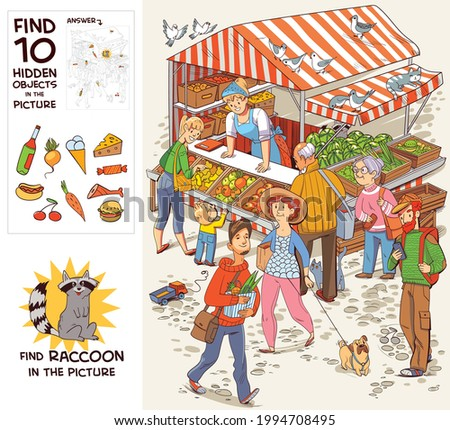 Group of people near the trade tent. Find Raccoon. Find 10 hidden objects in the picture. Puzzle Hidden Items. Funny cartoon character. Vector illustration. Set