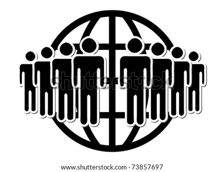 Group of people, network,  in front of world wide web symbol