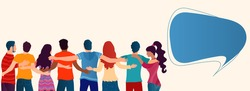 Group of people of diverse culture seen from behind embracing each other.Cooperation and help between people.Community.Care and assistance.Concept of solidarity friendship and charity