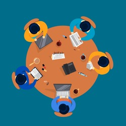 Group of people on a conference. Workers sitting around the table on the meeting. Office conference room. Teamwork top view. Vector illustration in cartoon style