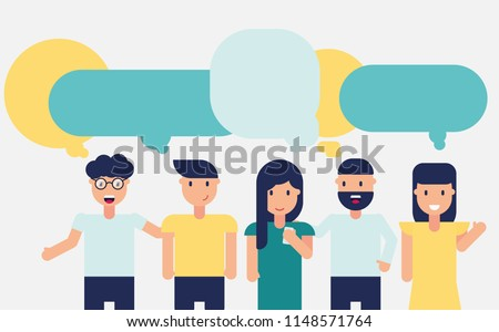 Group of people on white background discuss news. Design for social network, business, focus group, meeting with chat, dialogue, speech bubbles. Vector illustration, flat style.