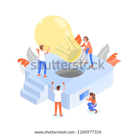 Group of people or team members putting giant lightbulb into light fixture. Teamwork or effective and efficient collective work, collaboration and cooperation. Colorful isometric vector illustration.
