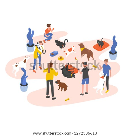 Group of people or volunteers feeding pets and playing with them in animal shelter, pound, rehabilitation or adoption center for stray and homeless cats and dogs. Isometric vector illustration.