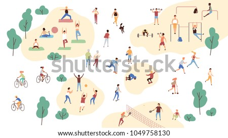 Group of people performing sports activities at park - doing yoga and gymnastics exercises, jogging, riding bicycles, playing ball game and tennis. Outdoor workout. Flat cartoon vector illustration