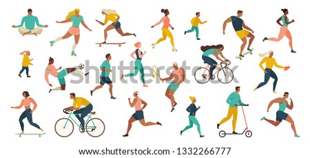 Group of people performing sports activities at park doing yoga and gymnastics exercises, jogging, riding bicycles, playing ball game and tennis. Outdoor workout. Flat cartoon vector.