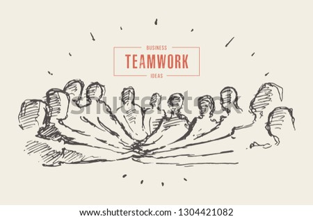 Group of people putting hand on top of each other, togetherness, teamwork, friendship. Stack of hands. Hand drawn vector illustration, sketch
