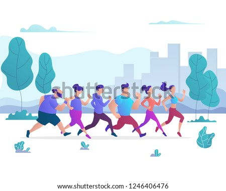 Group of People Running in City Public Park. Different Sex, Age, Shape Characters. Trendy Gradient Flat Style Vector Illustration
