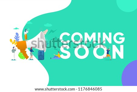 Group of people shouting on megaphone   with coming soon word vector illustration concept, can use for, landing page, template, ui, web, mobile app, poster, banner, flyer Сток-фото ©