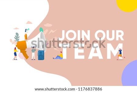Group of people shouting on megaphone   with join our team word vector illustration concept, can use for, landing page, template, ui, web, mobile app, poster, banner, flyer