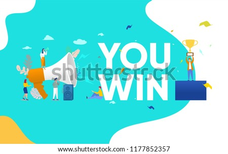 Group of people shouting on megaphone   with you win word vector illustration concept, can use for, landing page, template, ui, web, mobile app, poster, banner, flyer