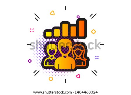 Group of people sign. Halftone circles pattern. Teamwork results icon. Classic flat teamwork results icon. Vector