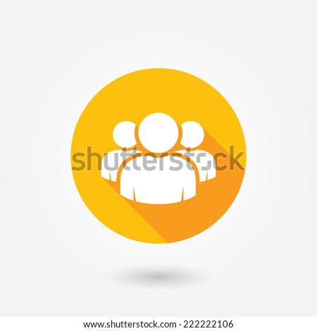 Group of people sign icon. Share symbol. Circle flat button with shadow. UI website navigation. Social network. Group of friends icon. Cutout. Leader icon. Community icon. Multiple users silhouette