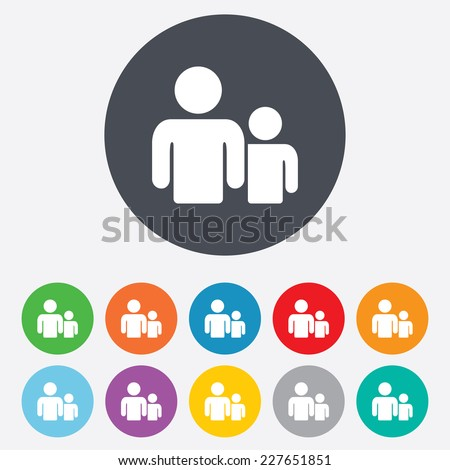 Group of people sign icon. Share symbol. Round colourful 11 buttons. Vector
