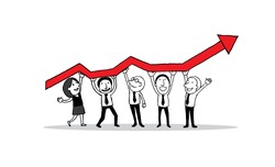 Group of people standing and holding indicator graph of growth in business. creative teamwork concept. isolated vector illustration outline hand drawn doodle line art cartoon design character.