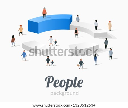 Group of people standing on pie chart conceptual vector design.
