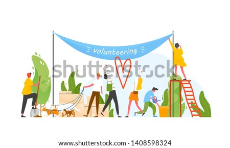 Group of people taking part in volunteer organization or movement, volunteering or performing altruistic activities together - walking dogs, hanging banner, watering plants. Flat vector illustration.