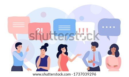 Group of people talking and thinking, friends with speech bubbles, vector flat illustration Photo stock ©