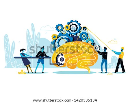 Group of People Trying to Start Up Huge Human Brain with Mechanic Gears and Cogwheels Inside. Searching Idea, Insight, Brainstorming Process, Teamwork Collaboration. Cartoon Flat Vector Illustration.