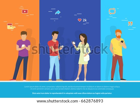 Group of people using smartphone concept vector illustration. Flat design of guys and woman standing together and reposting trends in social networks, reading news and publishing images for likes.