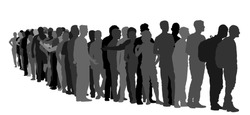 Group of people waiting in line vector silhouette isolated on white. Group of refugees, migration crisis in Europe. Turkey war migrants waves going to Schengen Area. Border situation in EU, or Mexico.
